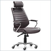 ZUO Enterprise Modern Leatherette High Back Office Chair in Espresso