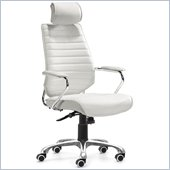 ZUO Enterprise Modern Leatherette High Back Office Chair in White