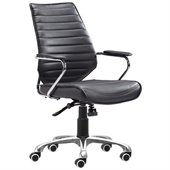 ZUO Enterprise Modern Leatherette Low Back Office Chair in Black