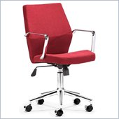 ZUO Holt Modern Fabric Molded Foam Low Back Office Chair in Red