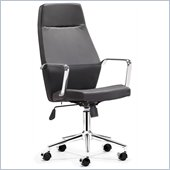 ZUO Holt Modern Leatherette Molded Foam High Back Office Chair in Black PU