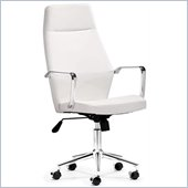 ZUO Holt Modern Leatherette Molded Foam High Back Office Chair in White PU