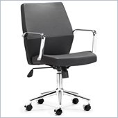 ZUO Holt Modern Leatherette Molded Foam Low Back Office Chair in Black PU