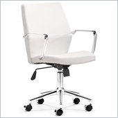 ZUO Holt Modern Leatherette Molded Foam Low Back Office Chair in White PU