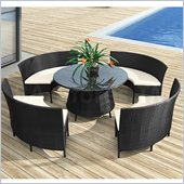 ZUO La Barrosa Outdoor Synthetic Weave Dining Table Set in Espresso