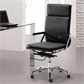 ZUO Lider Plus Modern Leatherette High Back Office Chair in Black
