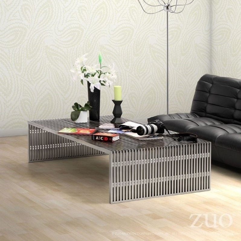 ZUO Novel Modern Long Coffee Table in Stainless Steel