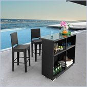 ZUO Phi Phi Outdoor Synthetic Weave Bar in Espresso