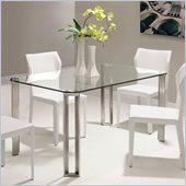 ZUO Plume Modern Tempered Glass Dining Table in Clear Glass