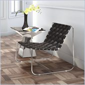 ZUO Prospect Park Modern recycle leather Lounge Chair in Black