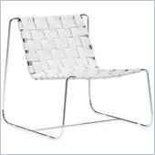 ZUO Prospect Park Modern Recycle Leather Lounge Chair in White