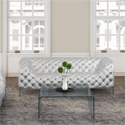 ZUO Providence Modern Faux Leather Sofa in Sliver