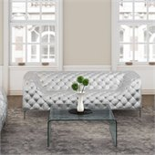 ZUO Providence Modern Leatherette Sofa in Sliver