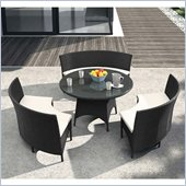 ZUO San Sebastian Outdoor Synthetic Weave Table Set in Espresso