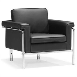 ZUO Singular Faux Leather Club Arm Chair in Black