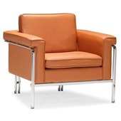 ZUO Singular Modern Leatherette Arm Chair in Terracota