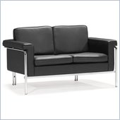 ZUO Singular Modern Leatherette Love Seat in Black