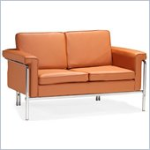 ZUO Singular Modern Leatherette Love Seat in Terracota