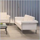 ZUO Singular Modern Leatherette Love Seat in White