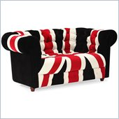 ZUO Union Jack Modern Microfiber Love Seat in Red White & Black
