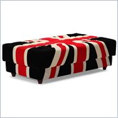 ZUO Union Jack Modern Microfiber Ottoman in Red White & Black