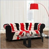 ZUO Union Jack Modern Microfiber Sofa in Red White & Black