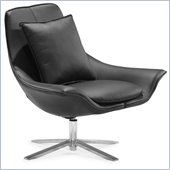 ZUO Vital Modern Leatherette Molded Foam Lounge Chair in Black