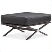 ZUO Xert Modern Leatherette Modular Ottoman in Black