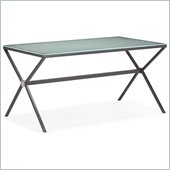 ZUO Xert Modern Painted Glass Dining Table in Gray