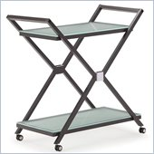 ZUO Xert Modern Tempered Glass Serving Cart in Gray