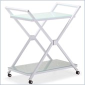 ZUO Xert Modern Tempered Glass Serving Cart in White