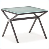 ZUO Xert Modern Tempered Glass Side Table in Gray