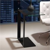 ZUO Zeon Modern Tempered Glass Side Table in Black
