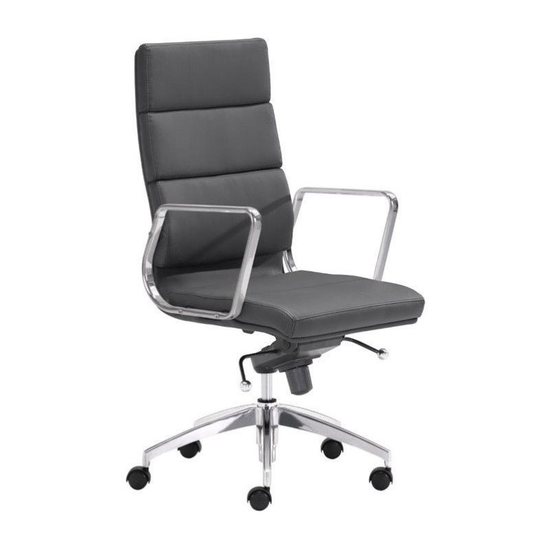 Zuo Engineer High Back Faux Leather Office Chair in Black