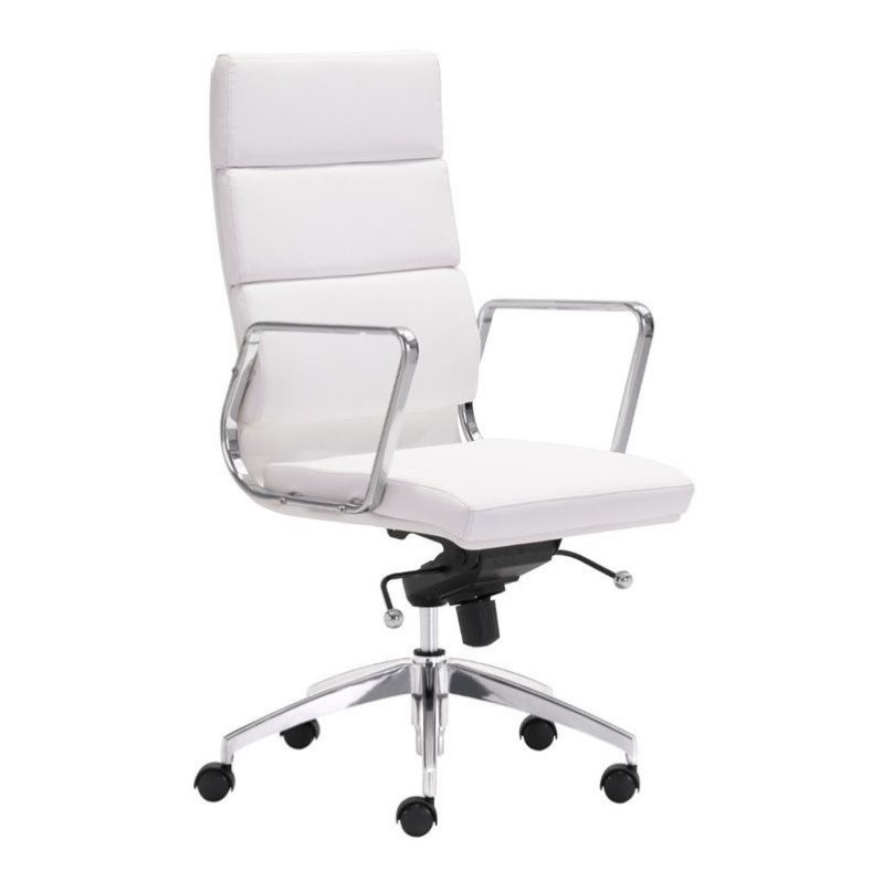 Zuo Engineer High Back Faux Leather Office Chair in White