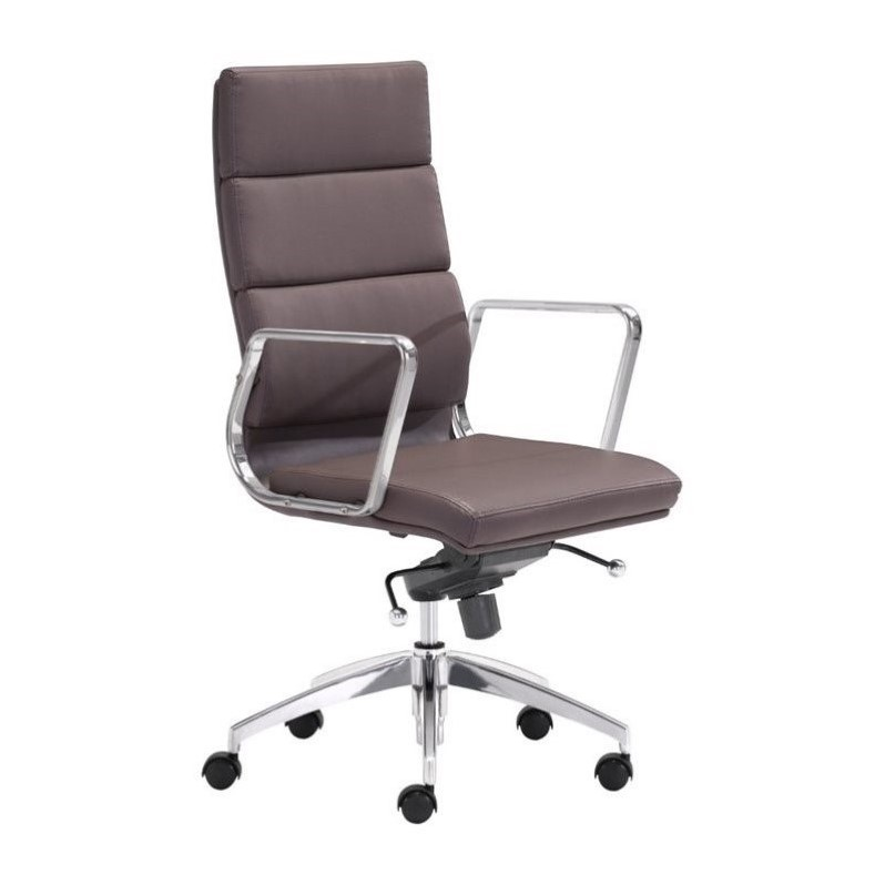 Zuo Engineer High Back Faux Leather Office Chair in Espresso