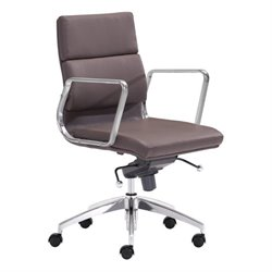 Zuo Engineer Low Back Faux Leather Office Chair in Espresso