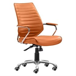 Zuo Enterprise Low Back Faux Leather Office Chair in Terracotta