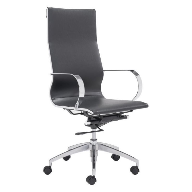 Zuo Glider High Back Faux Leather Office Chair in Black