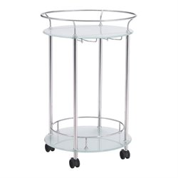 Zuo Plato Glass Kitchen Cart in Silver