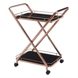 Zuo Vesuvius Glass Kitchen Cart in Rose Gold