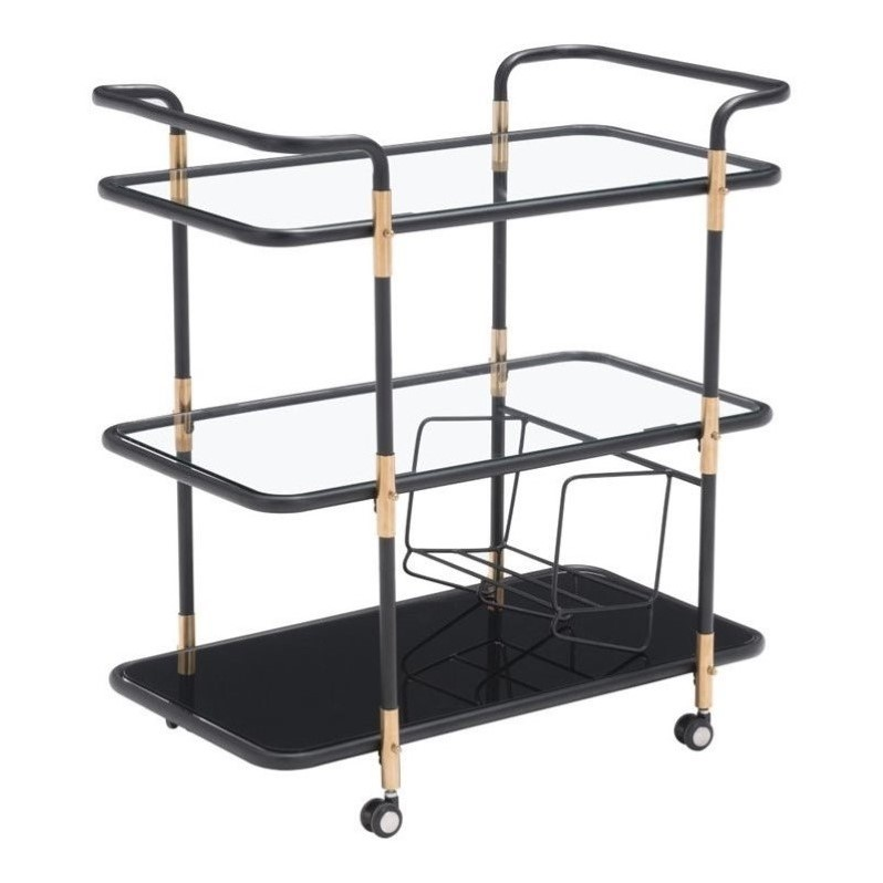 Zuo Secret Glass Kitchen Cart in Black and Gold 100191