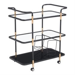 Zuo Secret Glass Kitchen Cart in Black and Gold