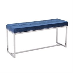 Zuo Synchrony Velvet Bench in Blue