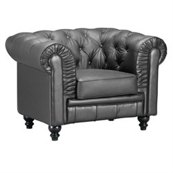 Zuo Aristocrat Leather Armchair in Black