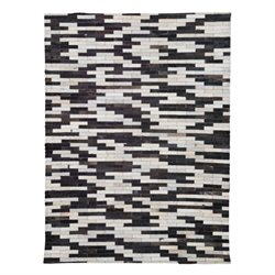 Zuo Arizona Cowhide Leather Rug in Black and White