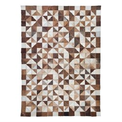 Zuo New Mexico Cowhide Leather Rug in Brown and White