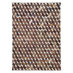 Zuo Utah Cowhide Leather Rug in Brown and White