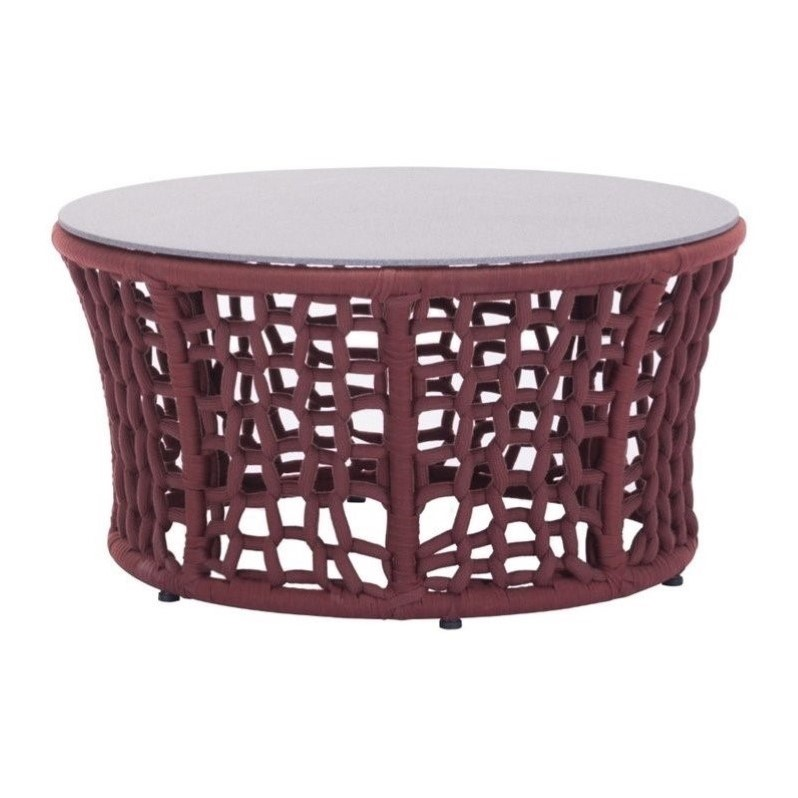 Zuo Faye Bay Beach Outdoor Glass Coffee Table in Cranberry and Granite