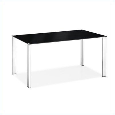 Zuo Slim Rectangular Casual Dining Table with Glass Top